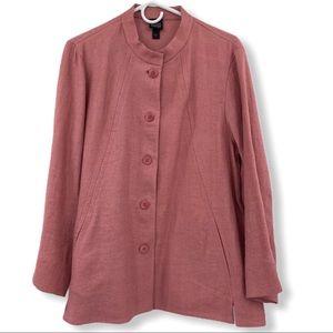 Eileen Fisher Pink Linen Jacket L Blazer Coat